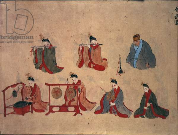 Or.961 fol.5 Seven seated musicians, from the musical performances of Ryukyu, c.1800-50 (pen & ink and w/c on paper)