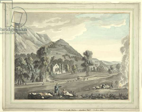 A ruined abbey set in a mountainous landscape; a road and grassland in the foreground; figures sitting in the centre of the scene; horses pulling carts of hay; figures burning wool; trees throughout the scene