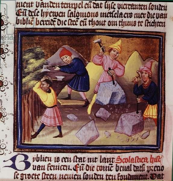 Add 10043 fol.169v Israelites preparing stones to build a temple (vellum)