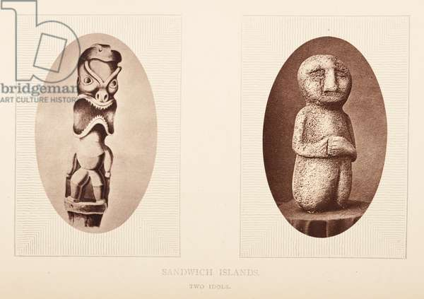 Plate opposite 155. Sandwich islands, Two idols, from 'The Rambles of a Globe Trotter in Australia, Japan, China, Java, India, and Cashmere', by  Egerton K Laird, 1875 (b/w photo)