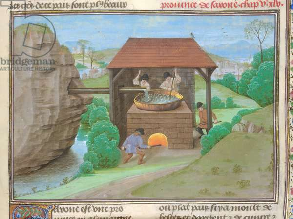 Cotton Augustus V, f.363 Salt Shed with pan and furnace, illustration from 'Le Tresor des Histoires...' (vellum)