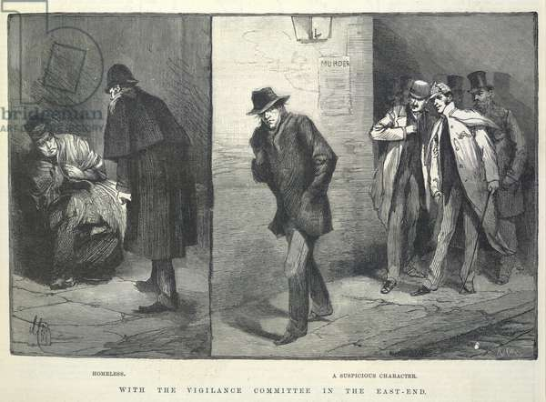 'With the vigilance commitee in the East End'. 'Homeless'. 'A suspicious character'. Illustrations made during the time of the Whitechapel or 'Jack the Ripper' murders. Note, one of the detectives wearing a deerstalker.