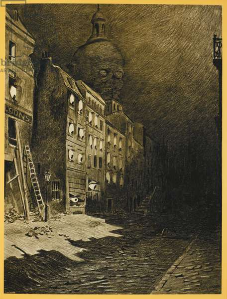 A building, with eyes showing at each window. A skull can be seen above the building. Illustration from 'War of the Worlds'.