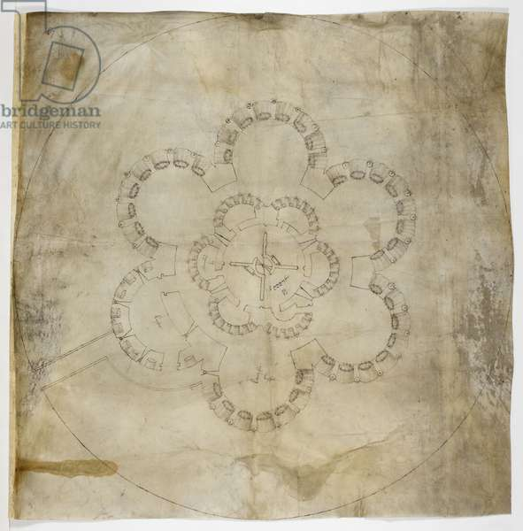 Cotton MS. Augustus I.i.67 Ground Plan of Deal Castle (ink on parchment)