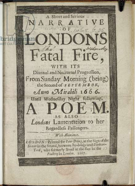 Title page with text referring to the great fire of London in 1666.