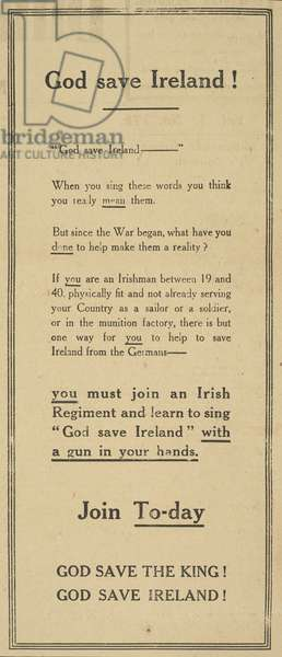 """Large boxed Advert """"GOD SAVE IRELAND!"""", from the Dungarvan Observer, 19 June 1915 (newsprint)"""