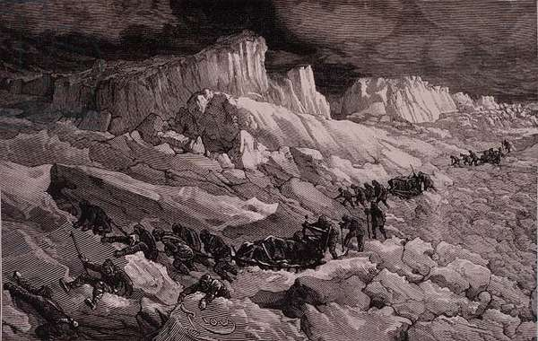 `In the Ice Floes' from 'Voyage a la Mer Polaire', 1875-76 (litho)