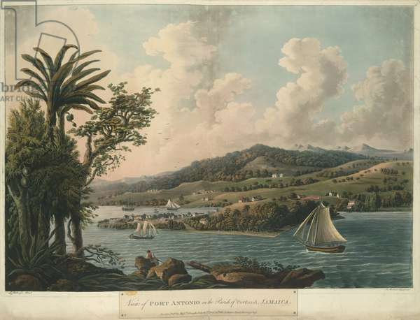 Port Antonio, from Six Views in the Island of Jamaica, lithograph by I. Merigot, 1800 (colour litho)