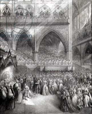 The Coronation of Queen Victoria at Westminster Abbey, 1838 (etching)