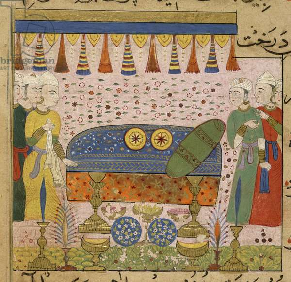 The Sultan Ghiyath al-Din, watching the preparation of 'abtana' (aromatic paste), from The Ni'matnama-i Nasir al-Din Shah, 1495-1505 (opaque w/c on paper)