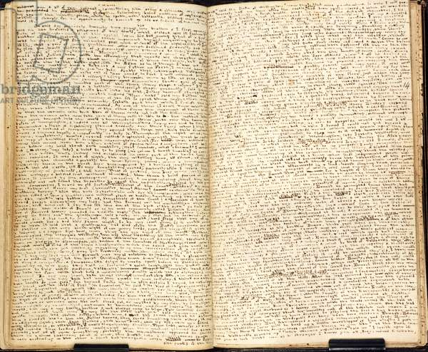 Double page manuscrite (cahier) de l'ecrivain Charlotte Bronte (1816-1855), publie a l'epoque sous le pseudonyme de Lord Charles Albert Florian Wellesley, vers 1834. Tales by Charlotte Bront`, the novelist, written under the pseudonym of Lord Charles Albert Florian Wellesley, and in the minute handwriting affected by her in her early years, c1834. ©The British Library Board/Leemage
