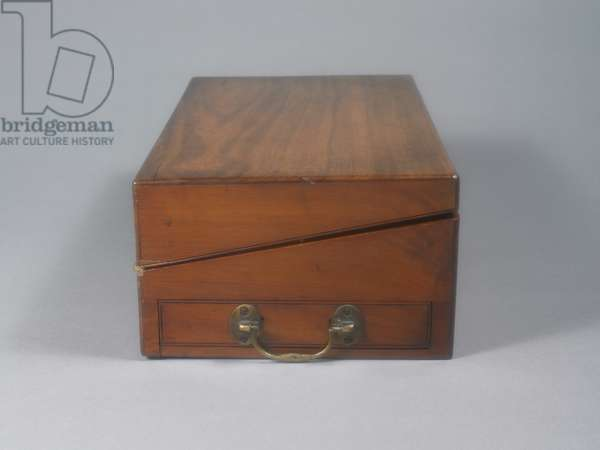 Portable writing desk that belonged to Jane Austen. Closed, side view.