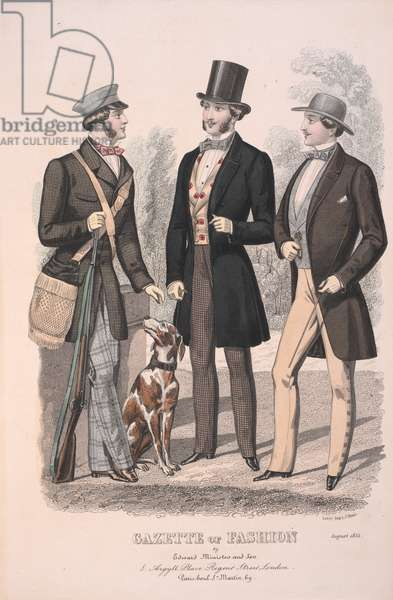 Three men, one dressed for hunting, with a dog.