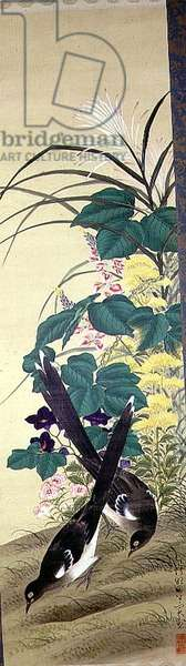 Magpies with flowers by Den Kojitsu, c.19th century