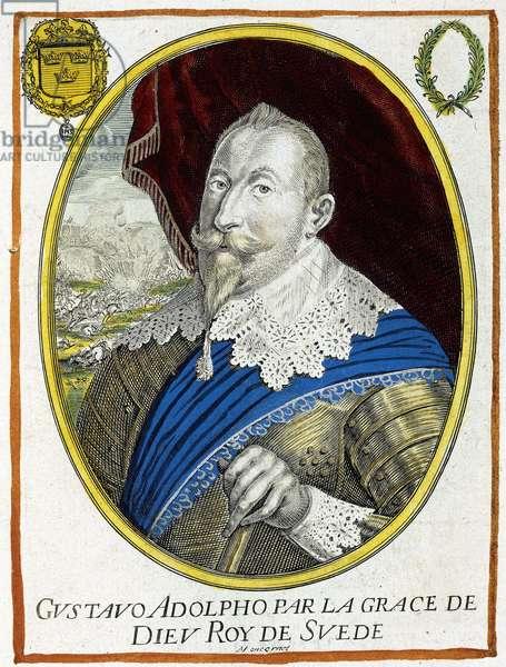 Gustave II Adolphe (1594-1632), roi de Suède de 1611 à 1632.  Gravure de Balthazar Moncornet (1630 - 1670). British Library. ©The British Library Board/Leemage