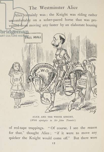 Alice in Pall Mall. Alice and the White Knight.