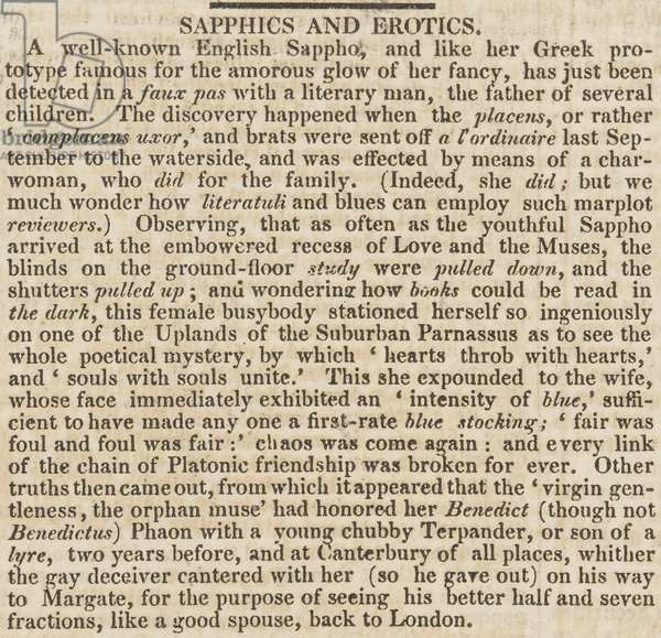 Sapphics and Erotics, from 'The Sunday Times', 5th March 1826