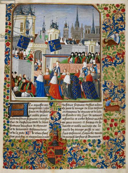Isabeau of Bavaria, illustration from 'The Harley Froissart', c.1470-72 (ink & gold on parchment)