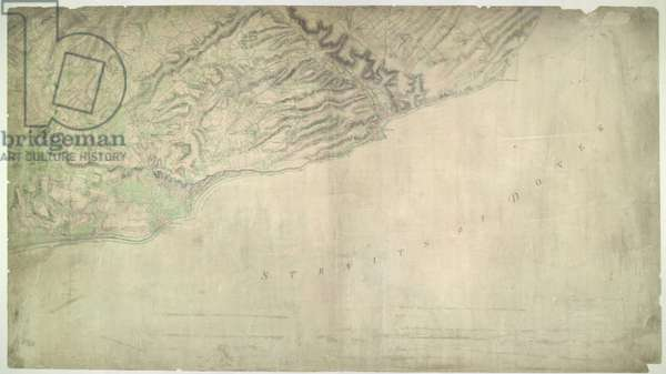 The cliffs of Dover are shown almost pictorially on this plan, with dark striations indicating steepness. Relief is shown elsewhere by shading and interlining ('hachuring'). Field boundaries are observed. The sandy coast is represented by a speckled pattern and grassland by a green wash. Dover Castle is seen in plan, with dark hachure lines depicting the steep underlying rocks. The castle, known as the 'Key to England', was a site of unique strategic importance, affording the shortest crossing point of the English Channel to continental Europe
