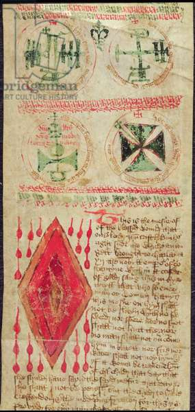Harley Ms T.11  Magic figures and the Wound of Christ from a prayer roll (vellum)
