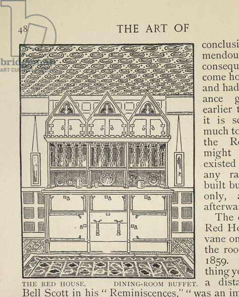 'Dining Room Buffet, The Red House, from 'William Morris: his art, his writings, and his public life. A record' by William Howard Aymer Vallance, 1897 (litho)