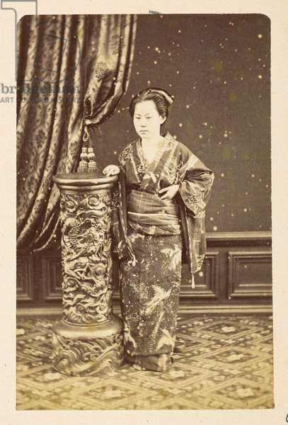 O'Wacka San [Portraits of Japanese women],  Full-length standing portrait of a Japanese woman, Dimensions: 93 mm x 60 mm Photographer: UnknownLucas Collection: Photographic record of the world tour of Charles James and Morton P,  Lucas, 1877-79,