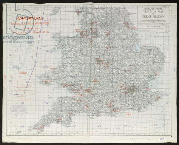 OS ten mile map of Great Britain - Military edition, GSGS 3993, 