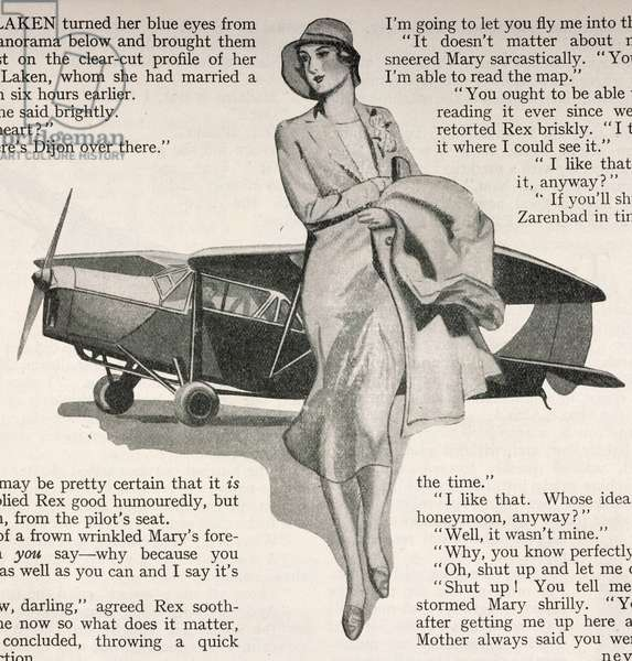 An illustration showing a woman in front of an aeroplane.Popular Flying, 1932