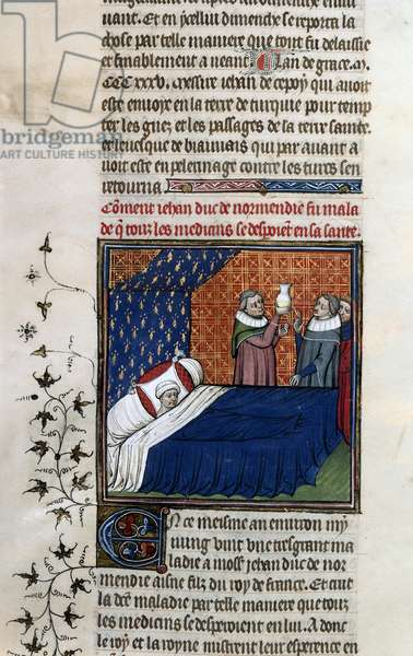 Royal 20 C. VII, fol.78v, Illness of Duke of Normandy, from 'Chroniques de France ou de St. Denis' (vellum)