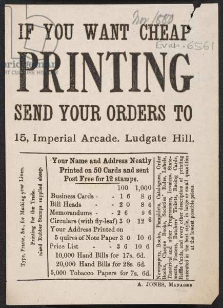 Advert For Jones' Printing, 1880 (print)