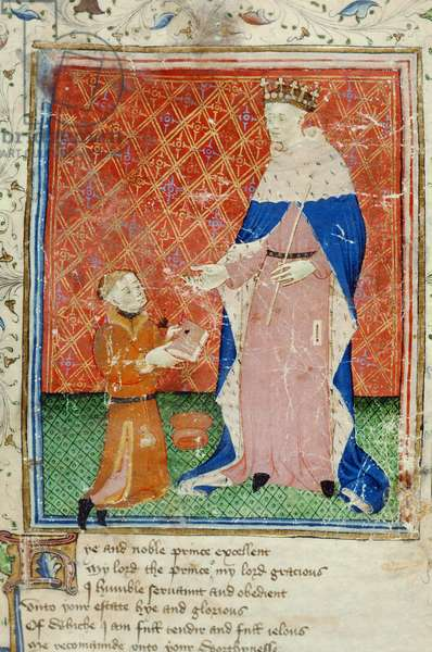 Roy 17 D VI f.40 The Author, Thomas Hoccleve, presenting his book 'Regement of Princes' to King Henry V, 1411-13 (vellum)