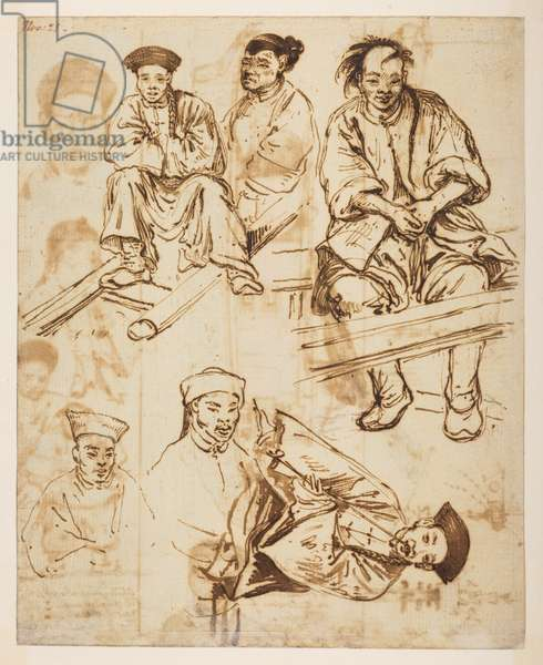 [f.57 140v Figure studies, Chinese men. 'Nov 21.', from an Album of 372 drawings of landscapes, coastlines, costumes and everyday life made during Lord Macartney's embassy to the Emperor of China, between 1792 and 1794 (pencil & w/c on paper)