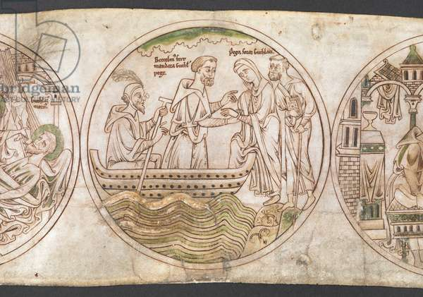 Harley Roll Y 6,  Roundel 15, Roundel of Beccelm speaking with St Guthlac's sister Pega (labelled 'Pega soror Guthlaci') and conveying his master's final instructions, with the inscription 'Beccelm[us] fert mandata Guthl[aci] pege'. The spectacles and the ostrich feather worn by Beccelm's companions are early modern additions.from the 'Life of Guthlac' (the 'Guthlac Roll', or Vita Sancti Guthlaci) 1175-1215