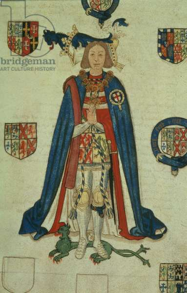 Add 45131 f.92 Edward Sutton, 2nd Baron Dudley, with coat of arms, from the Wriothesley Heraldic Collections, Vol.I, by Sir Thomas Wriothesley, c.1531 (vellum)