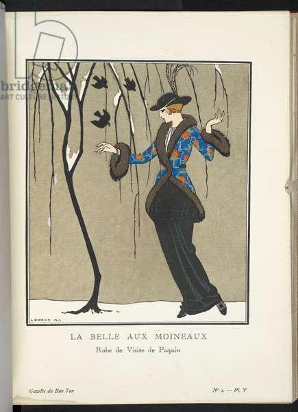 """""""La Belle aux Moineaux - Robe de Visite de Paquin."""" La robe de visite de Paquin est en drap de soie noir. La jaquette en natté de soie jaspé de métal et rebrodé de roses d'Ispaban est bordée de skungs."""