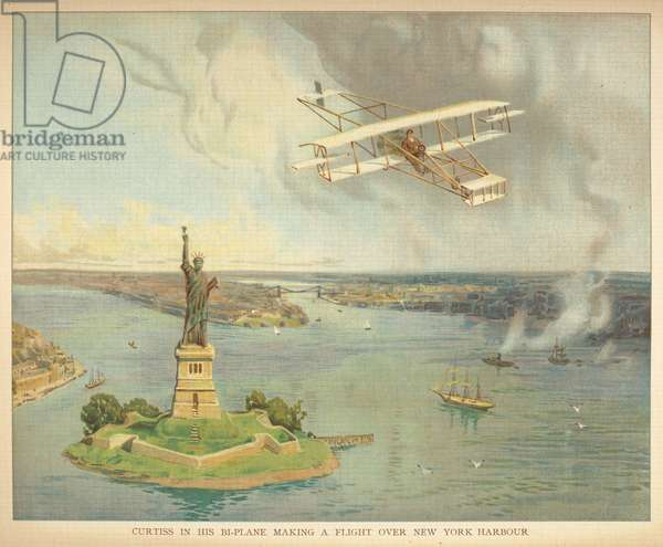 'Curtiss in his bi-plane making his flight over New York harbour.'Little people's book of airships. London : Ernest Nister, [1912]