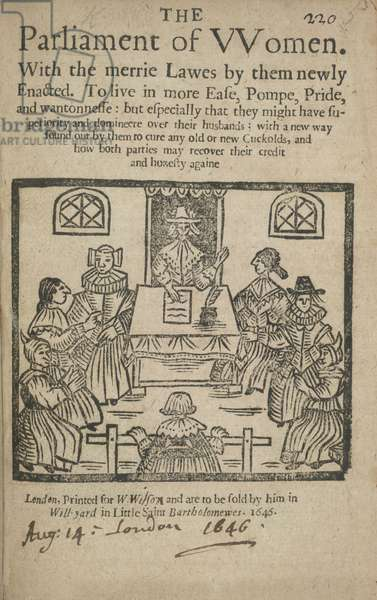 Illustrated title page of 'The Parliament of Women'