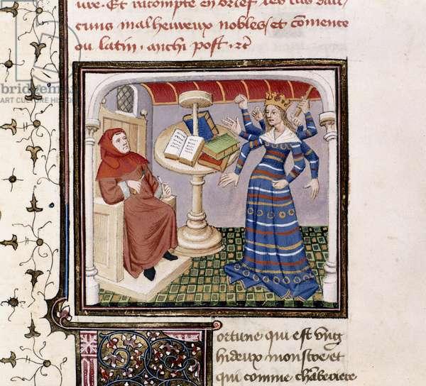 Royal 20 C. IV, fol.198, Boccaccio's vision of Fortune, from 'Des Cas des Nobles Hommes', c.1420 (vellum)