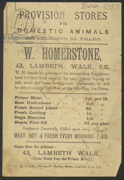 Advert for W Homerstone, butchers, 1890 (print)