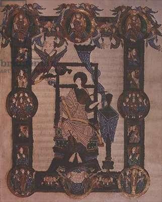 Additional 34890, f.114v: St. John the Evangelist, from the Grimbald Gospels, c.1020 (vellum)