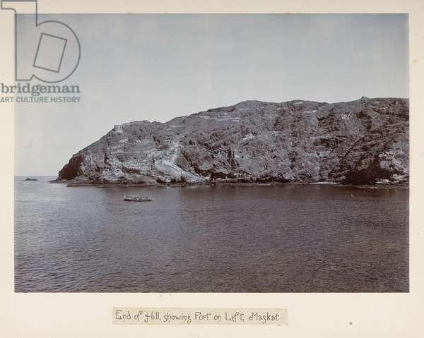 End of Hill, showing Fort on Left, Maskat, from 'Photographs of Lord Curzon's tour in the Persian Gulf, November, 1903' (silver gelatin print)