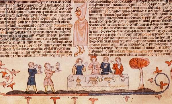 A Royal Banquet, from the Smithfield Decretals, c.1340 (vellum)