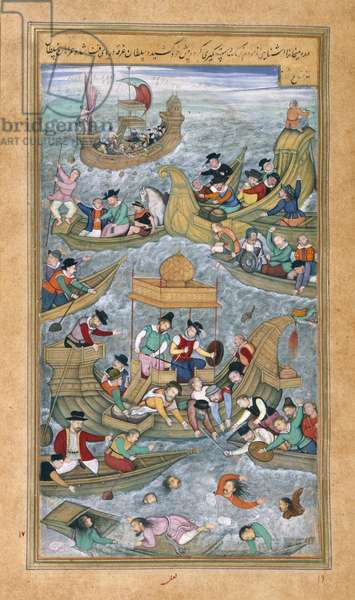 Sultan Bahadur and Rumi Khan jumping into the sea when surrounded by Portuguese boats, from the Akbarnama