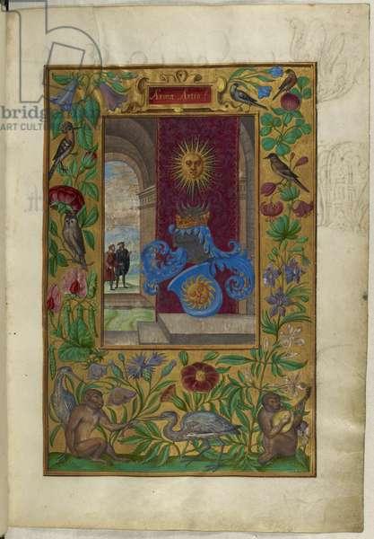 Ms Harley 3469, f.2 Two Golden Suns, from 'Splendor Solis' by Salomon Trismosin, 1582 (vellum)