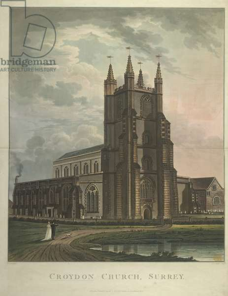 Two figures and a dog standing by Croydon Church; a body of water in the foreground