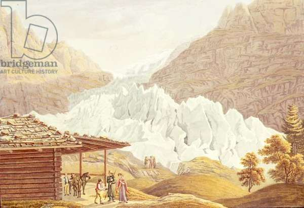 View of the Large Glacier at Grindelwald, Berne, Switzerland, pub. J.P.Lanry, Berne, Basle & Geneva