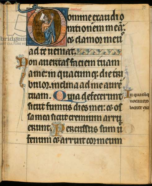 Add. 49999, f.75 Initial 'D' depicting A Woman at Prayer, illustration from the 'De Brailes Hours', c.1240 (vellum)