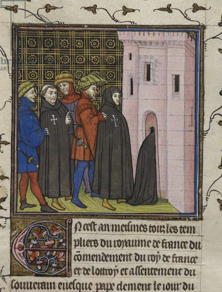 Royal 20 C. VII, f.42v Arrest of the Templars, illustration from the 'Chroniques de France ou St. Denis' (vellum)