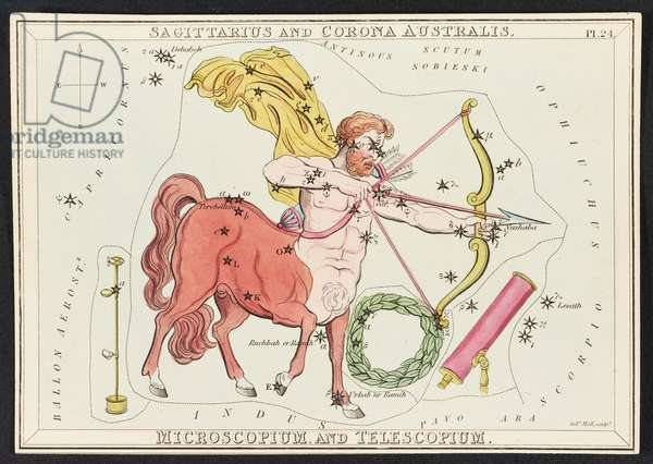 Sagittarius and Corona Australis, from 'Urania's Mirror; or, a View of the heavens. [A box of 32 cards.]' by Jehoshaphat Aspin, 1834 (colour litho)