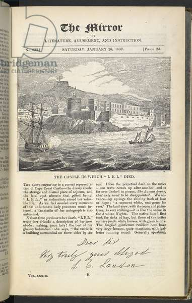 Front page featuring illustration captioned 'The castle in which L.E.L. died', from 'The Mirror of Literature, Amusement and Instruction', 26 January 1839 (engraving)